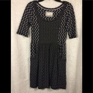 Anthropologie black & white with pockets dress